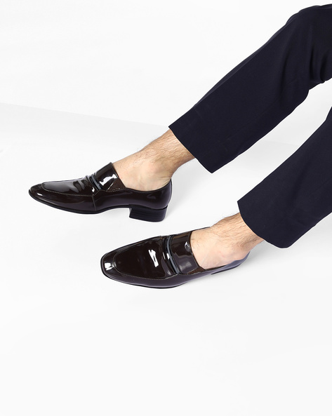 Patent Leather Slip-On Shoes By ESCARO ( Brown )