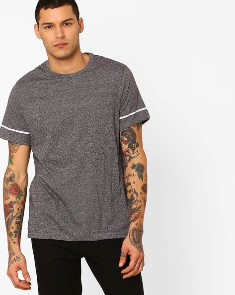 Grindle Crew-Neck T-shirt With Zip Detailing By AJIO ( Grey )