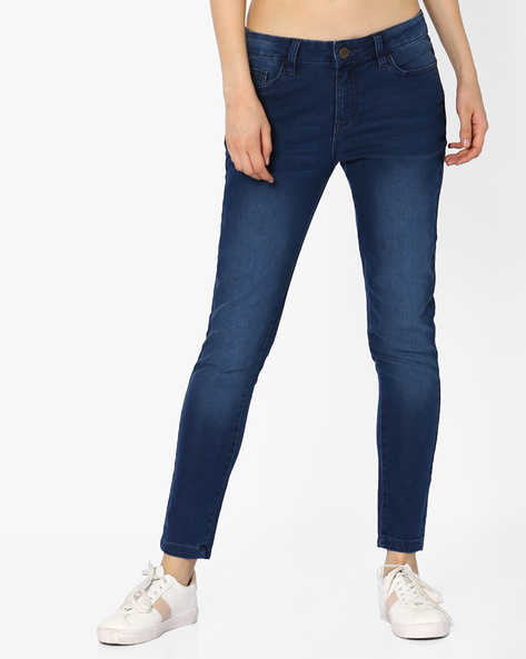 Ankle-Length Mid-Rise Jeans By AJIO ( Lightblue )