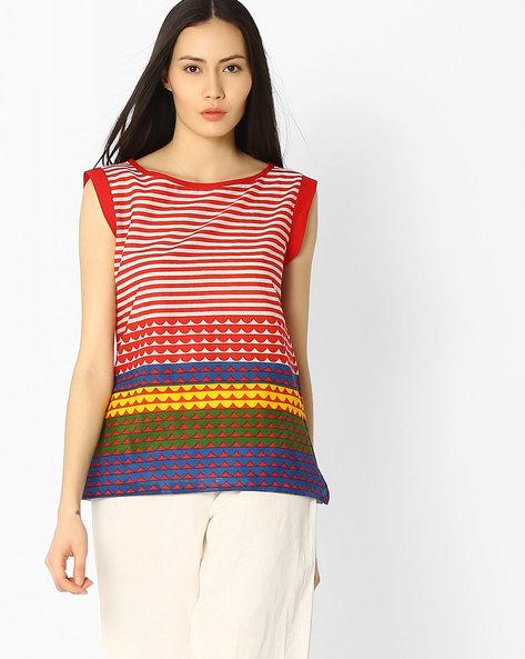 Striped Cotton Top By Jaipur Kurti ( Red )