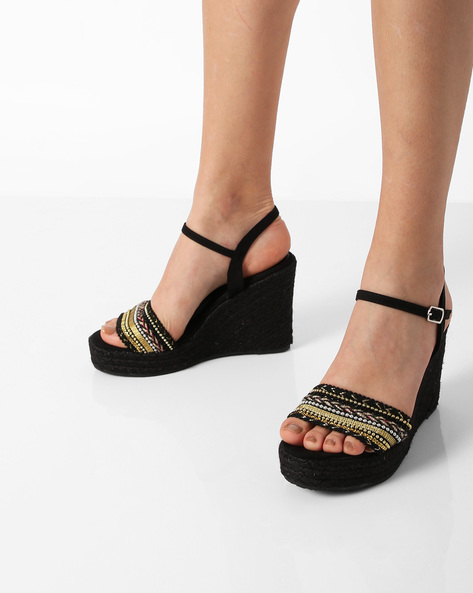 Ankle-Strap Wedges With Braided Midsole By Truffle Collection ( Black )