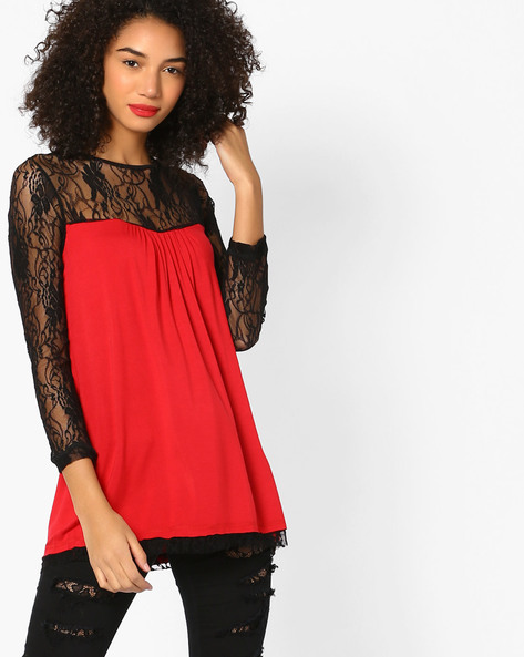 Knitted Top With Lace Yoke By And ( Red )
