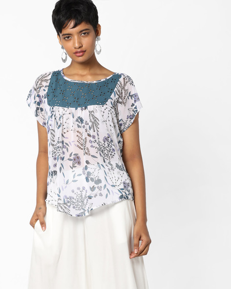 Floral Print Top With Schiffli Embroidery By Rena Love ( Multi )
