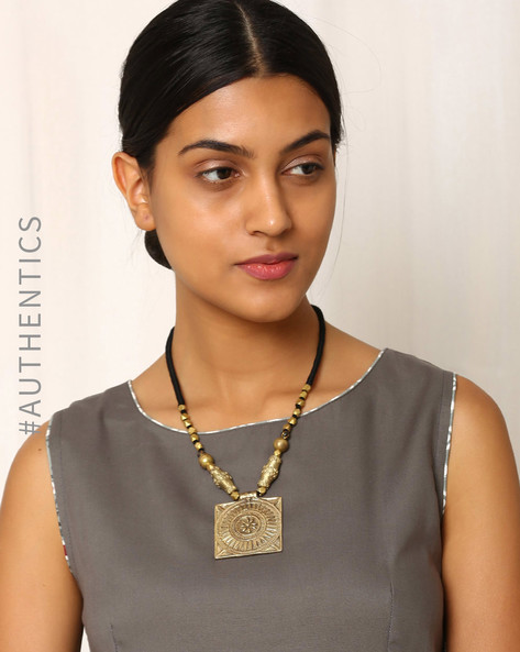 Handcrafted Dhokra Brass Necklace By Indie Picks ( Black ) - 460016909001