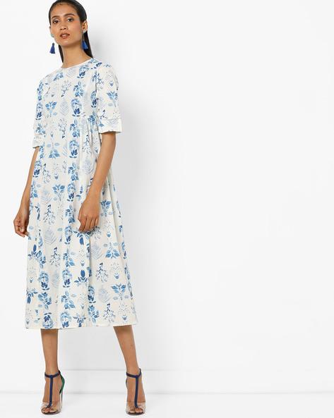 Floral Print Midi Dress By AJIO ( Blue )