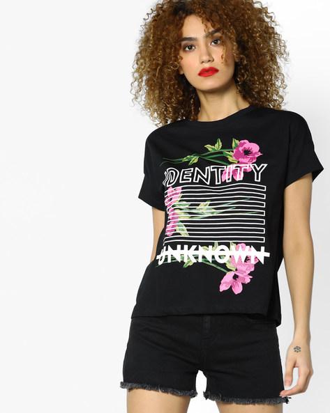 Graphic Print Crew-Neck T-shirt By AJIO ( Black )