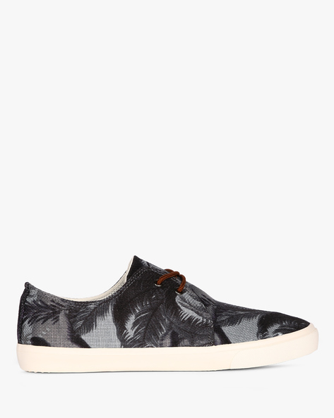 Tropical Print Lace-Up Sneakers By Nuboy ( Black )