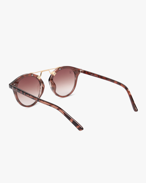 UV-Protected Round Sunglasses With Top Bar By MTV ( Brown )