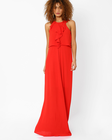 Popover Maxi Dress With Ruffles By And ( Red )