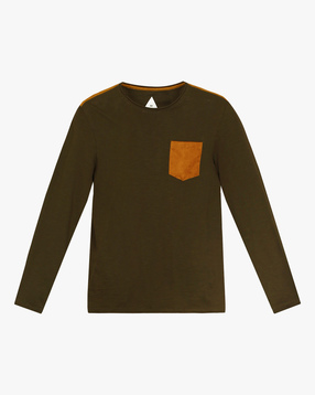 Cotton T-shirt with Suede Patch Pocket