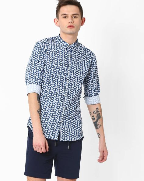 Diamond Print Slim Fit Shirt By AJIO ( White )