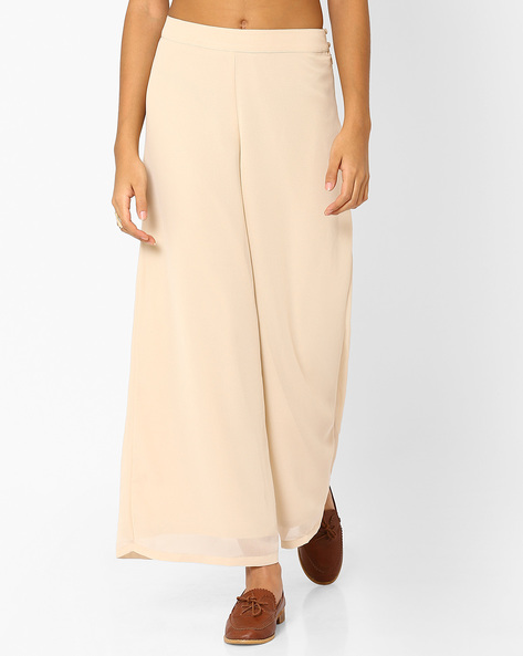 Solid Palazzo Pants By AJIO ( Offwhite )