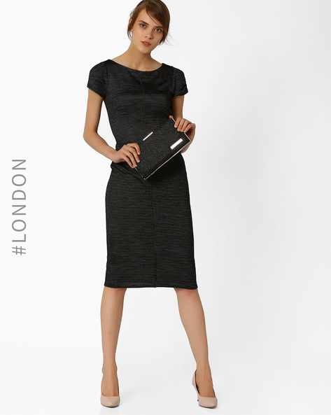 Bodycon Dress With Textured Weave By Closet London ( Black )