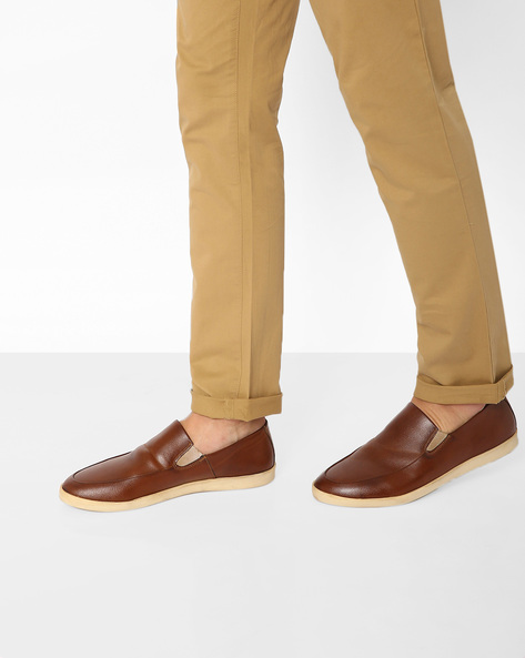 Faux-Leather Slip-Ons By AJIO ( Tan )