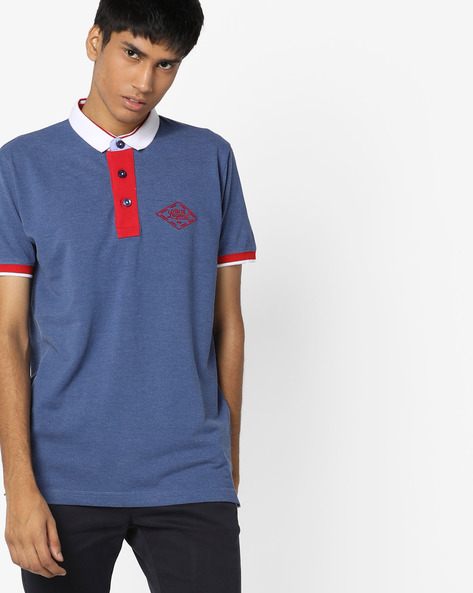 Polo T-shirt With Contrast Collar By DUKE ( Navy )