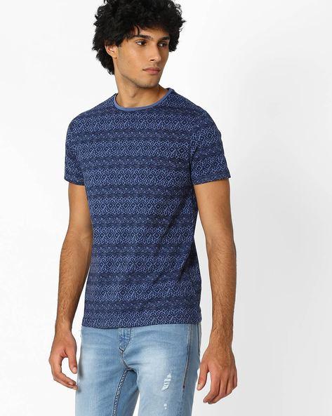 Printed Crew-Neck T-shirt By AJIO ( Blue ) - 460042379001