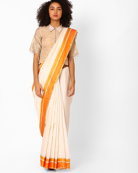 Saree With Contrast Border By Pihu ( Yellow )
