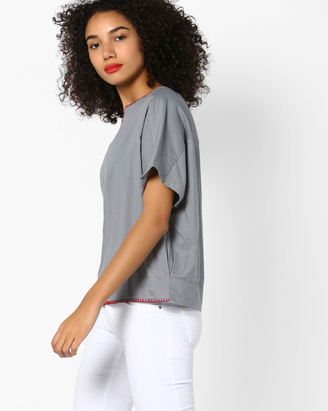 Oversized Top With Contrast Edge Stitches By AJIO ( Grey )