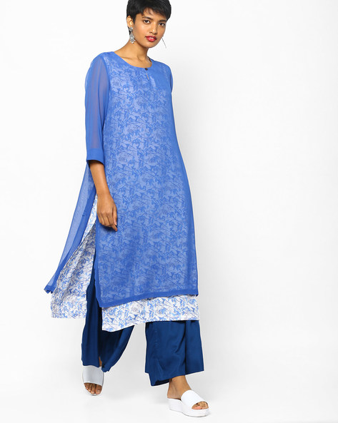 Floral Print Layered Kurta By PE IW Casual ( Blue )
