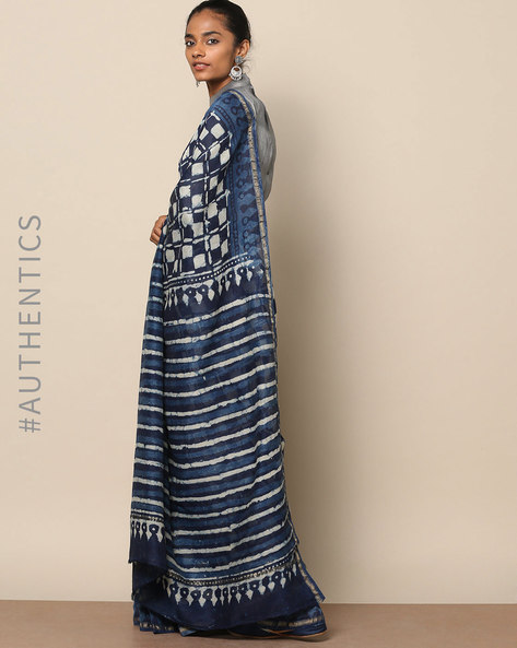 Handblock Indigo Print  Chanderi Saree With Zari By Indie Picks ( Indigo ) - 460146820001