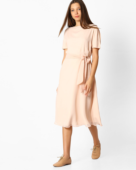 A-Line Dress With Tie-Up Detail By Femella ( Beige )