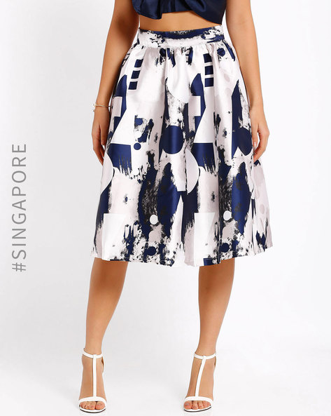 Printed Skirt By MDS ( White )