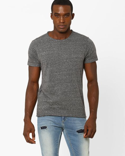 Slim T-shirt With Raw Edges By VOI JEANS ( Darkgrey )
