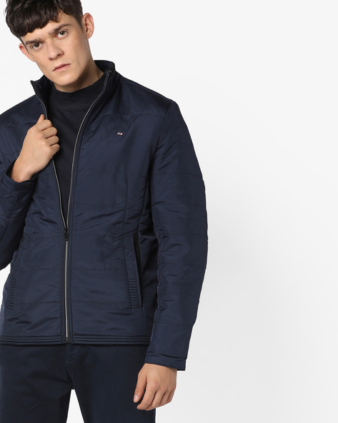 Slim Fit Quilted Jacket By Fort Collins ( Navy )