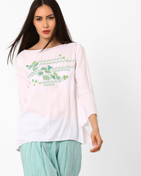 Embroidered Top With Bell Sleeves By Global Desi ( Lime )