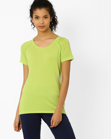 T-shirt With Mesh Panels By AJIO ( Limegreen )