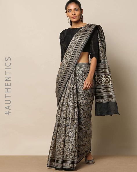 Pure Silk Floral Jaal Print Monochrome Saree By Rudrakaashe-MSU ( Black )