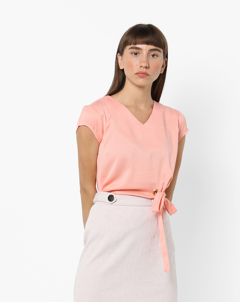 V-neck Top With Tie-Up By AJIO ( Pink )