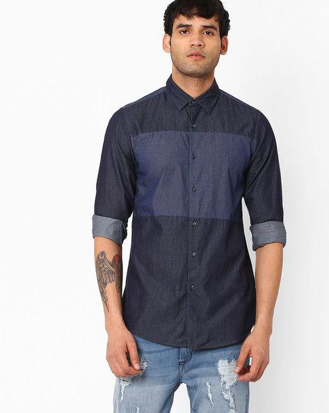 Denim Shirt With Curved Hemline By ADAMO LONDON ( Indigo ) - 460046905002