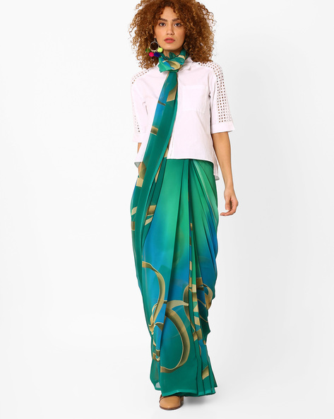 Printed Saree With Blouse Piece By Arissa ( Turquoise )