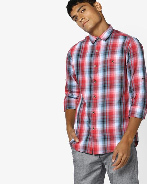 Yarn-Dyed Checked Shirt By AJIO ( Red )