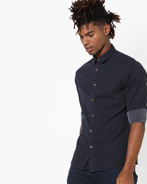 Ditsy Print Shirt With Spread Collar By AJIO ( Navy )