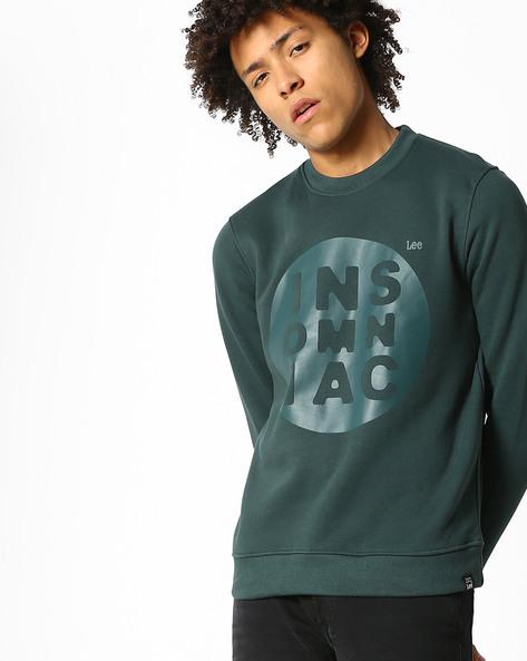 Typographic Print Crew-Neck Sweatshirt By Lee ( Green )