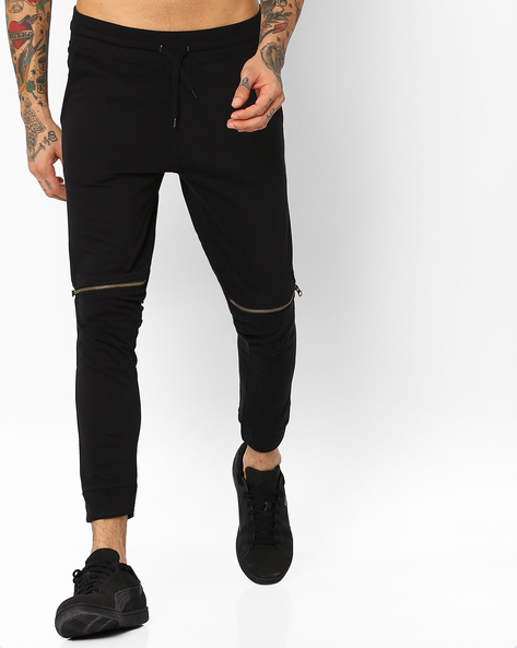 Joggers With Leather Panels By Garcon ( Black )