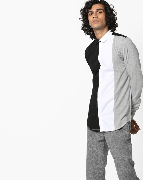 Colourblock Shirt With Full Sleeves By ADAMO LONDON ( Multi )