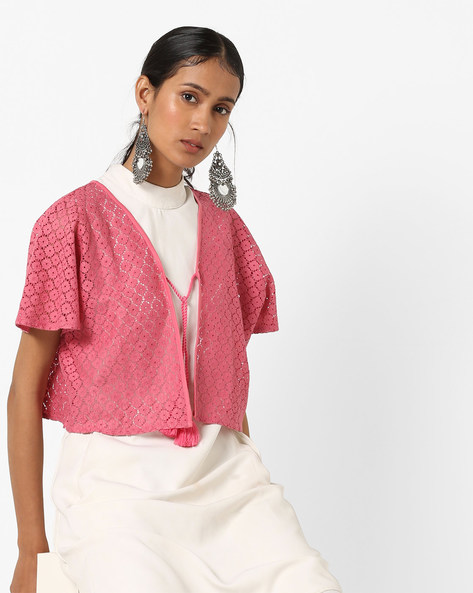 Floral Lace Shrug With Tie-Up By AJIO ( Pink )