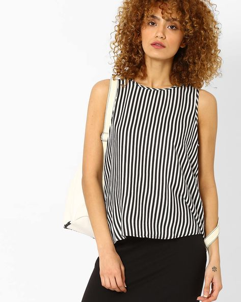 Sleeveless Striped Top By Vero Moda ( Black )