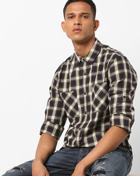 Slim Fit Checked Shirt With Patch Pockets By AJIO ( Olive )