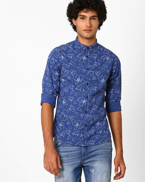 Over-Dyed Floral Print Slim Fit Shirt By AJIO ( Navy )