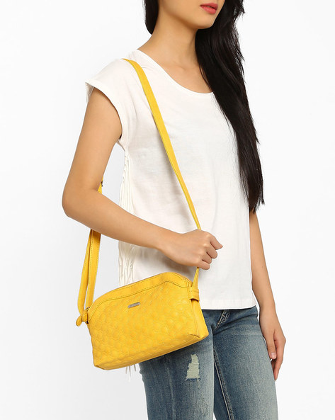 Honeycomb Quilted Sling Bag By Lavie ( Yellow )