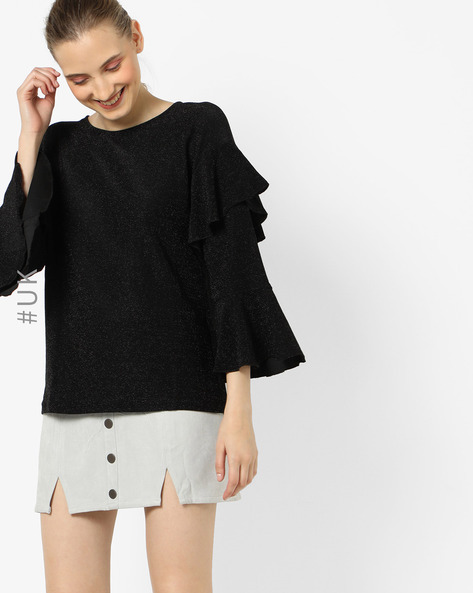 Ruffle Overlay Top With Bell Sleeves By OEUVRE ( Black )