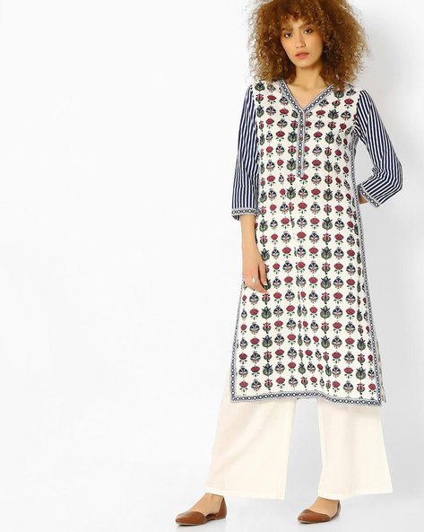 Printed Cotton Straight Kurta By Jiyaa ( Blue )
