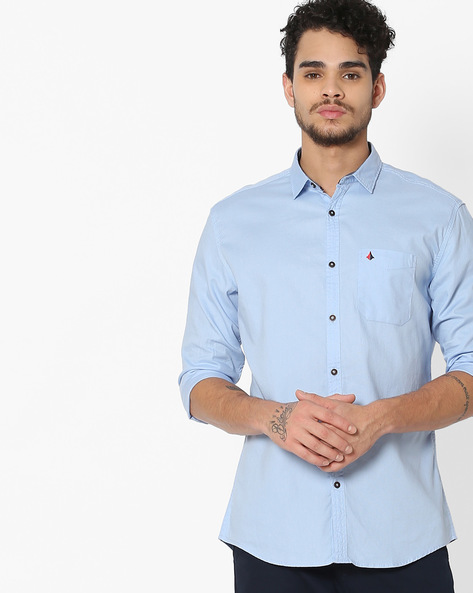 Slim Fit Shirt With Patch Pocket By British Club ( Blue ) - 460132304003