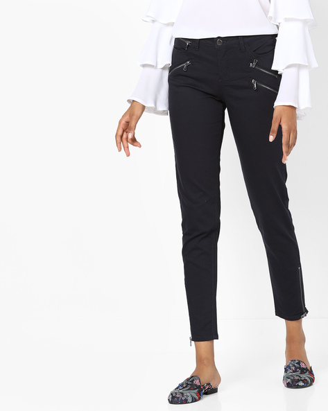 Trousers With Zip Detail By SAINT TROPEZ ( Darkblue )
