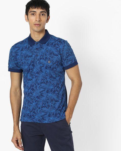 Tropical Print Polo T-shirt By JOHN PLAYERS ( Blue )