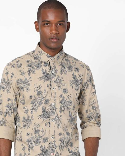 All-Over Floral Print Shirt By NETPLAY ( Khaki )